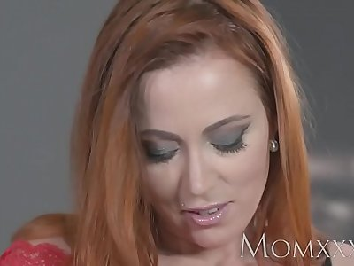MOM Sexy redhead sucks and fucks muscle man before hot creampie