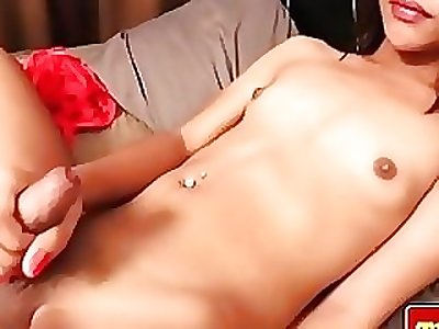 Naughty thai shemale penetrates her ass